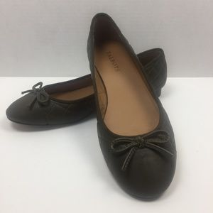 TALBOTS Olive Leather Quilted Ballet Flats 9M